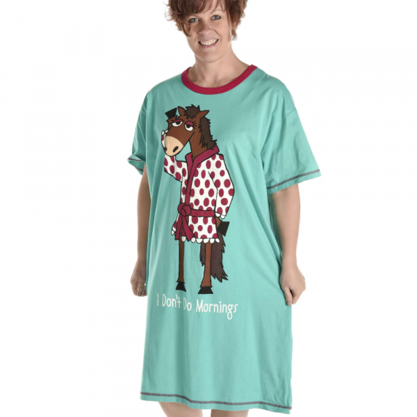 LAZY ONES DON'T DO MORNINGS HORSE NIGHTSHIRT