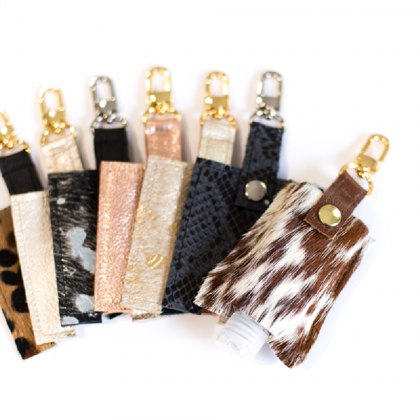 LEATHER HAND SANITIZER HOLDERS