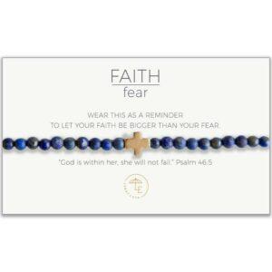 LENNY & EVA FAITH OVER FEAR STRETCH BRACELET-LAPIS