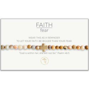 LENNY & EVA FAITH OVER FEAR STRETCH BRACELET-MEXICAN AGATE