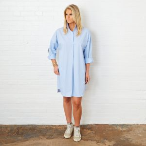 LIGHT BLUE PREPPY STAR DRESS