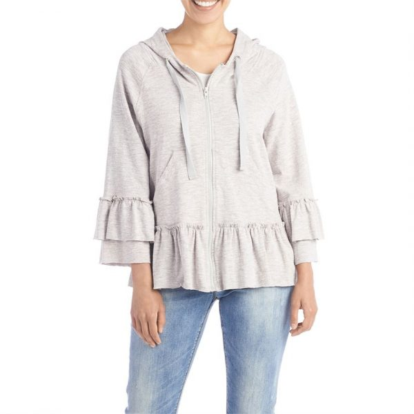 LIGHT GREY CASEY RUFFLED-UP ZIP HOODIE