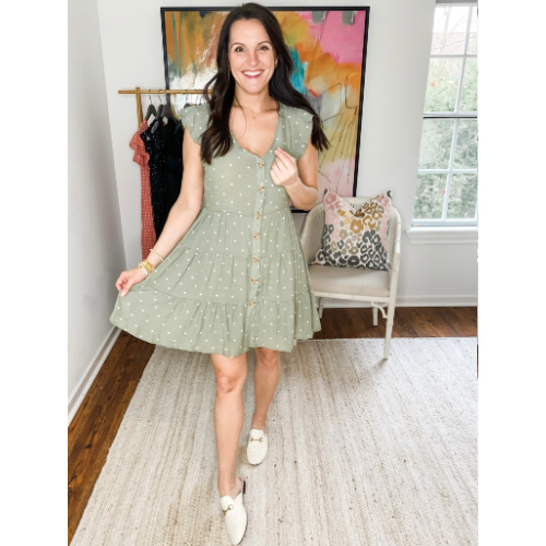 LIGHT OLIVE V-NECK BUTTON DRESS