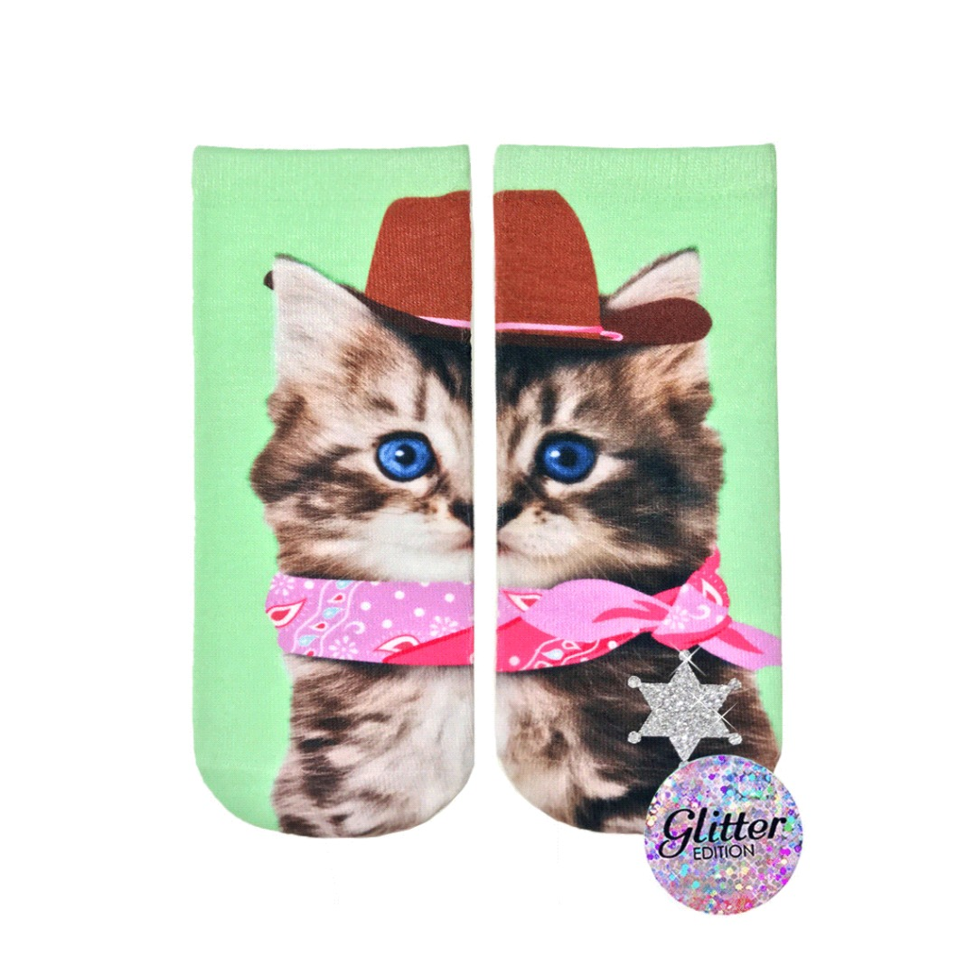 Living Royal Cowboy Kitty Glitter Ankle Socks Magpies Gifts