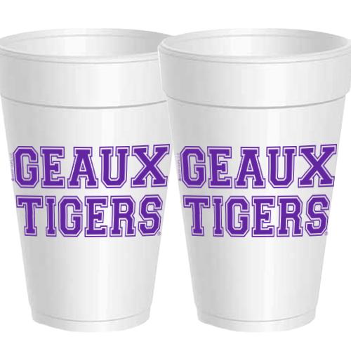 LSU GEAUX TIGERS STYROFOAM CUPS