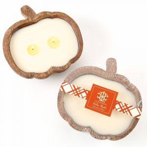 LUX HEIRLOOM PUMPKIN 2 WICK CANDLE IN A WOODEN PUMPKIN BOWL
