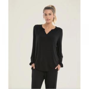 LUXE MILK JERSEY NAMASTE LOUNGE SET- BLACK