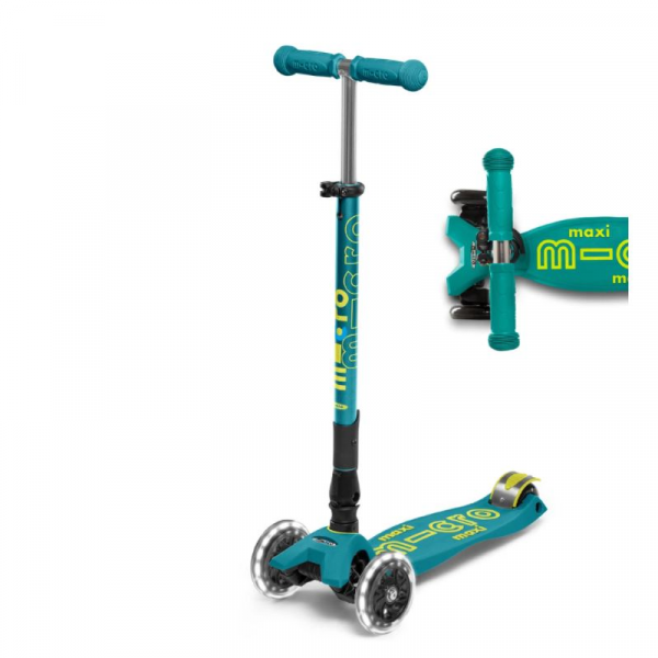MAXI DELUXE FOLDABLE LED CHILD SCOOTER- PETROL GREEN