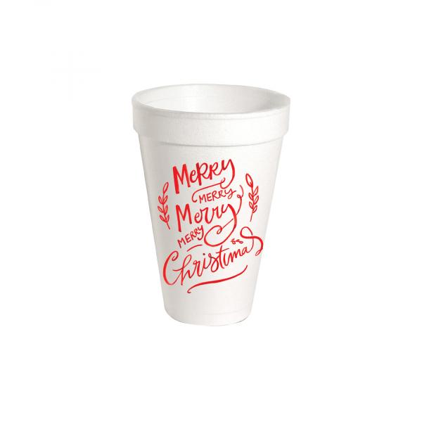MERRY MERRY CHRISTMAS STYROFOAM CUPS