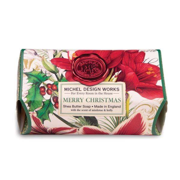 MICHEL DESIGN WORKS MERRY CHRISTMAS LARGE BATH SOAP BAR