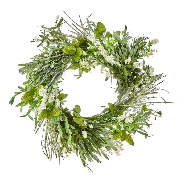MIXED HERB AND FLORAL WREATH