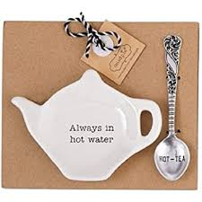 MUDPIE ALWAYS IN HOT WATER TEAPOT SPOON REST SET