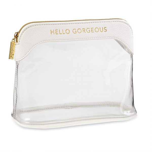 MUDPIE CLEAR MAKEUP BAG IN WHITE