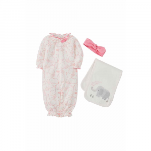 MUDPIE ELEPHANT GOWN BURP PAD AND HEADBAND