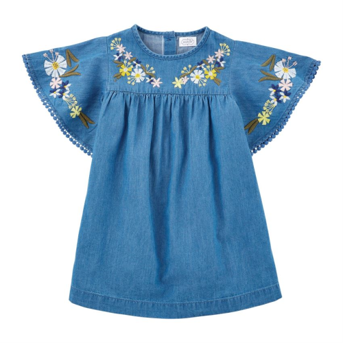 MUDPIE EMBROIDERED CHAMBRAY DRESS