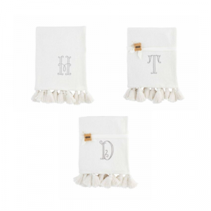 MUDPIE INITIAL WHITE THROW BLANKET