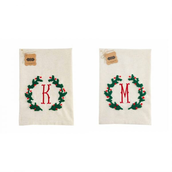 MUDPIE INITIAL WREATH FRENCH KNOT TOWELS