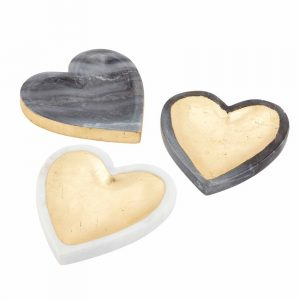 MUDPIE MARBLE GOLD FOIL HEART TRAYS