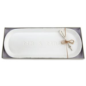 MUDPIE MR. AND MRS. BEADED HOSTESS TRAY SET