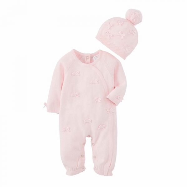 MUDPIE PINK KNIT BOW ONE PIECE WITH HAT