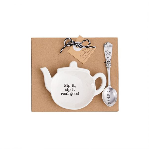 MUDPIE SIP IT REAL GOOD TEAPOT SPOON REST SET