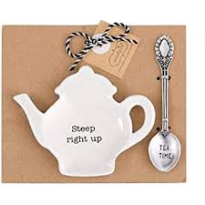 MUDPIE STEEP RIGHT TEAPOT SPOON REST SET