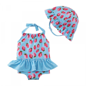 MUDPIE STRAWBERRY SWIMSUIT AND HAT