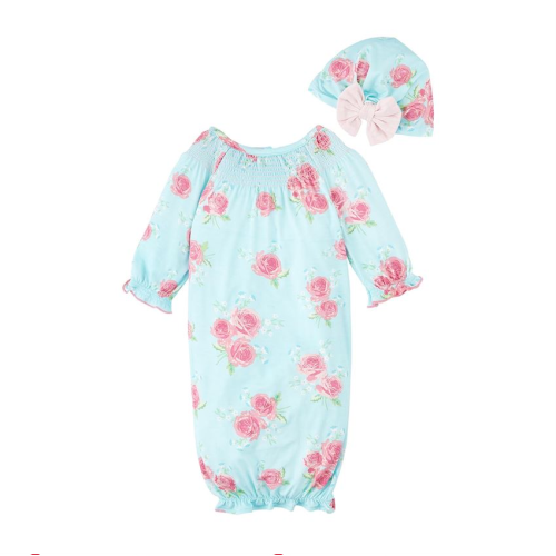 MUDPIE TAKE ME HOME BLUE ROSE GOWN