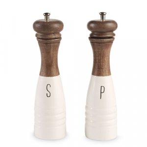 MUDPIE WOOD AND ENAMEL SALT AND PEPPER MILLS
