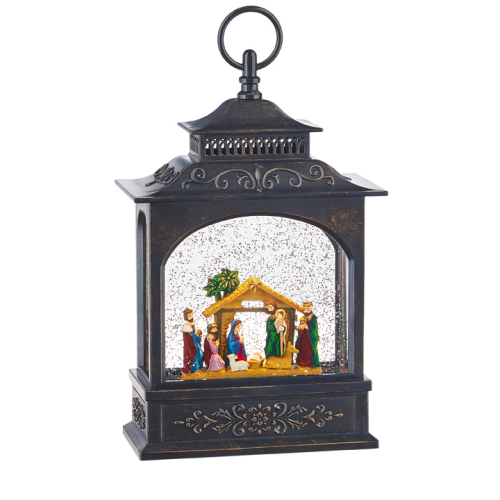 NATIVITY MUSICAL LIGHTED WATER LANTERN