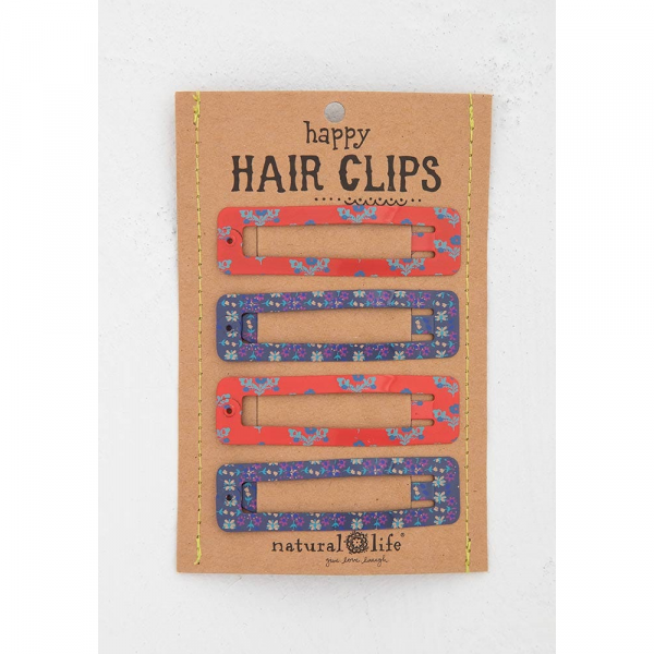 NATURAL LIFE RED AND PURPLE HAPPY HAIR CLIPS