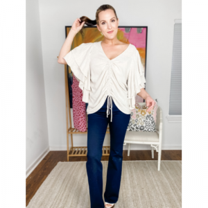 NATURAL RUCHED FRONT TOP