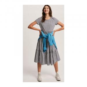 NAVY GINGHAM SHORTSLEEVE TIERED DRESS