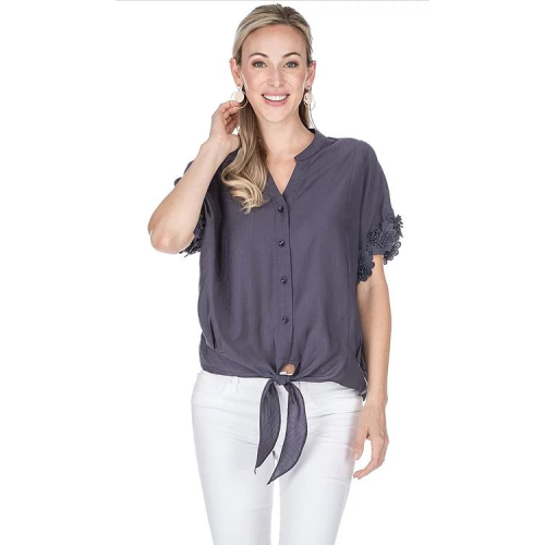 NAVY TIE FRONT BLOUSE