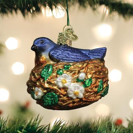 OLD WORLD CHRISTMAS BIRD IN NEST ORNAMENT