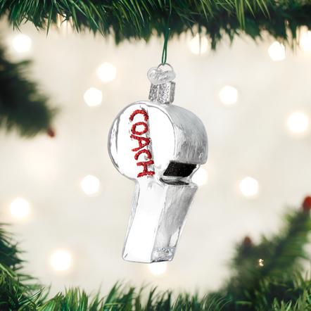 OLD WORLD CHRISTMAS COACH'S WHISTLE ORNAMENT