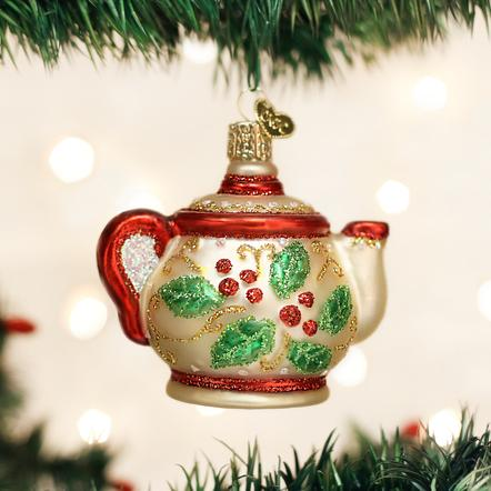 OLD WORLD CHRISTMAS HOLLY TEAPOT ORNAMENT