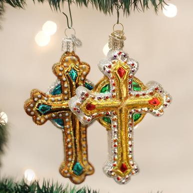 OLD WORLD CHRISTMAS JEWELED CROSS ORNAMENTS