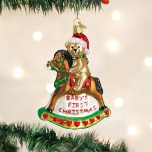 OLD WORLD CHRISTMAS ROCKING HORSE TEDDY ORNAMENT