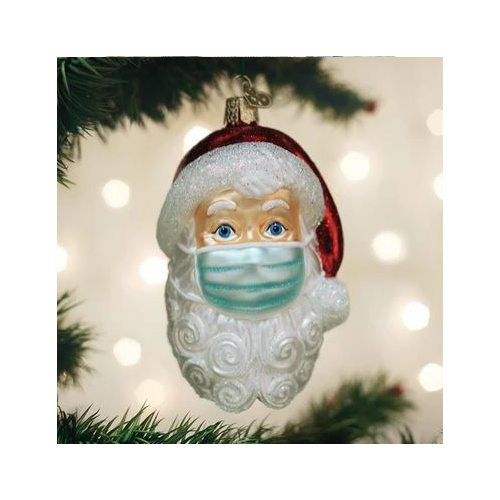 OLD WORLD CHRISTMAS SANTA WITH FACE MASK ORNAMENT
