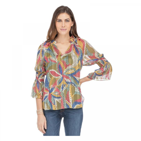 OLIVE FLORAL CINCHED SLEEVE TOP
