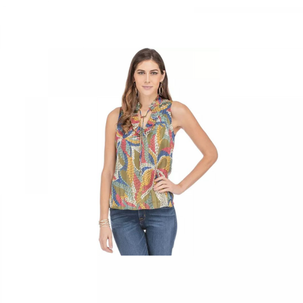 OLIVE FLORAL SLEEVELESS BLOUSE