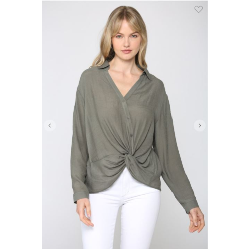 OLIVE TWIST FRONT BUTTONED SHIRT
