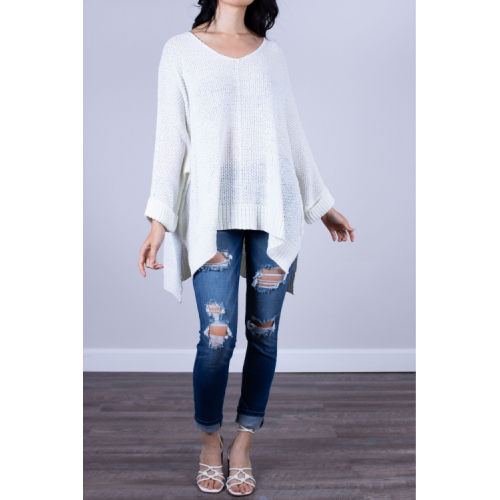 ONE SIZE PULLOVER SWEATER IN CLOUD