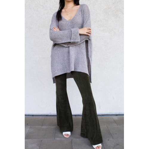 ONE SIZE PULLOVER SWEATER IN STONE