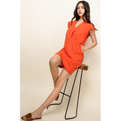 ORANGE V-NECK SHIRT DRESS