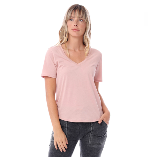 ORGANIC ROSE QUARTZ V-NECK TEE