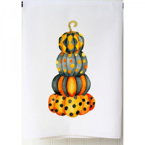 PAINTED PUMPKIN STACK FLOUR SACK TOWEL