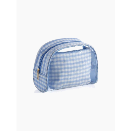 PERIWINKLE PEPITA COSMETIC POUCH
