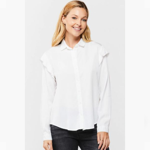 PETRINE OPTIC WHITE BUTTON-UP SHIRT